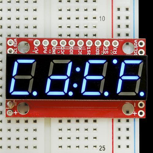 シリアル接続7セグメント4桁LED(青)