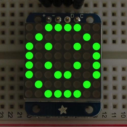 Adafruit I2C通信の8x8ミニLEDマトリックス基板(緑色)