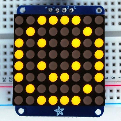 Adafruit I2C通信の8x8 1.2インチLEDマトリックス基板(黄色)