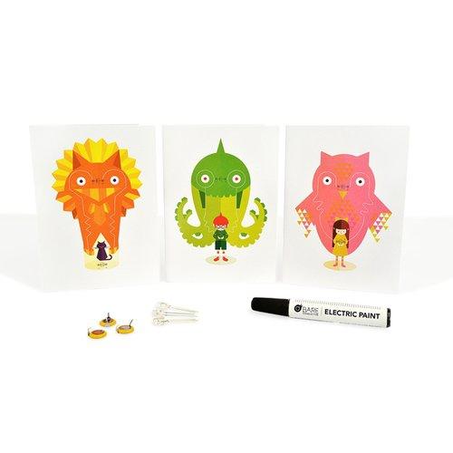 導電インクのキラキラカードセット(Power Animals)--販売終了