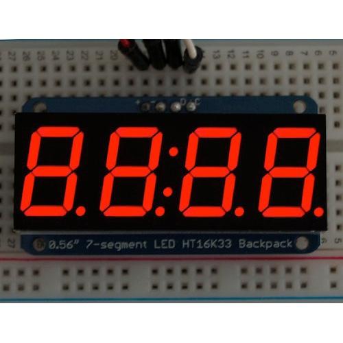 Adafruit I2C通信の7セグメント4桁ディスプレイ (赤色)