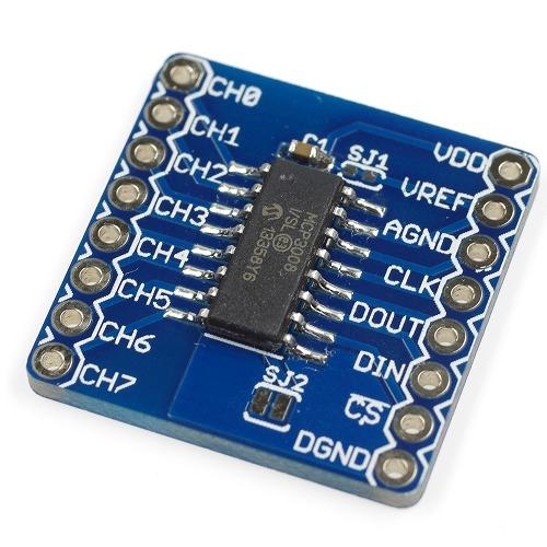 MCP3008 A/Dコンバータ ピッチ変換済みモジュール