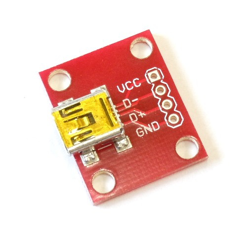USBミニBコネクタ・ピッチ変換基板--販売終了