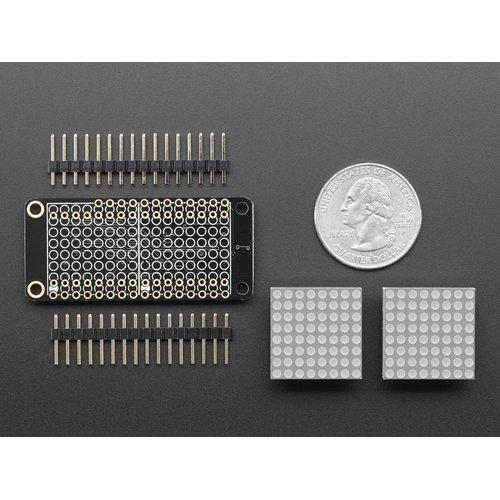 FeatherWing - 8 x 16 LEDマトリックスドライバボード(赤色LEDマトリクス付き)