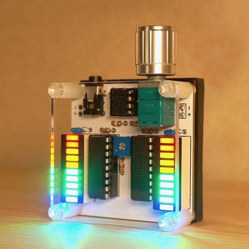 ステレオオーディオレベルメータV2 白基板-4色LED