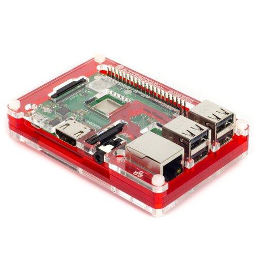 Pibow 3 B+ Coupé - Raspberry Pi 3 B+、3 B、2用ケース 赤