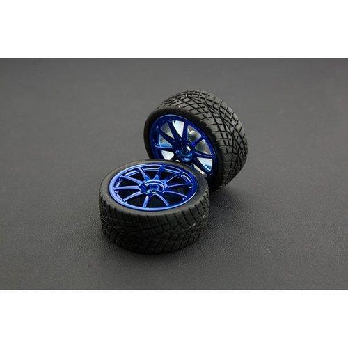 《お取り寄せ商品》D65mm Rubber Wheel Pair - Blue (Without Shaft)
