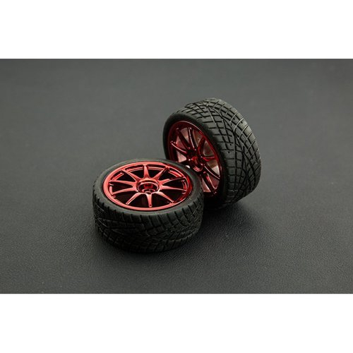 《お取り寄せ商品》D65mm Rubber Wheel Pair - Red (Without Shaft)