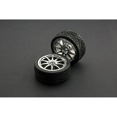 《お取り寄せ商品》D65mm Rubber Wheel Pair - Silver (Without Shaft)