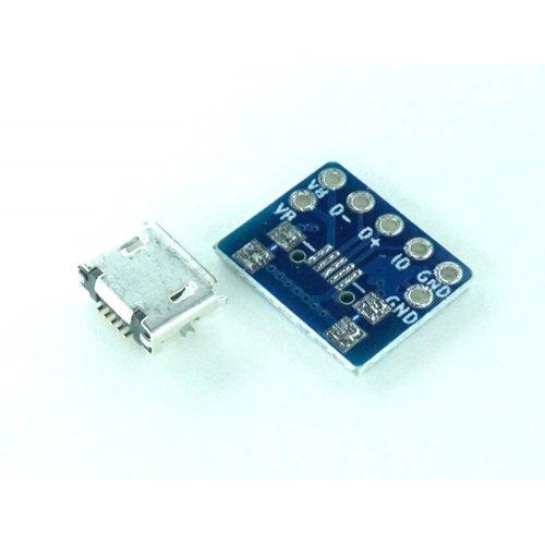 USB micro B ピッチ変換基板 コンパクト(2組パック)