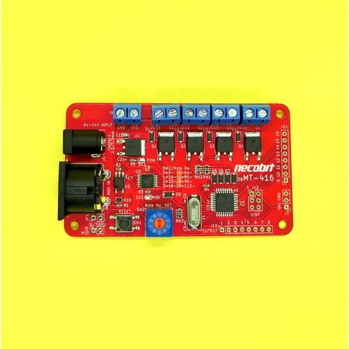 かんたんMIDIスイッチ基板 MT-416 MIDI to Transistor – 4port (16portまで拡張可能)