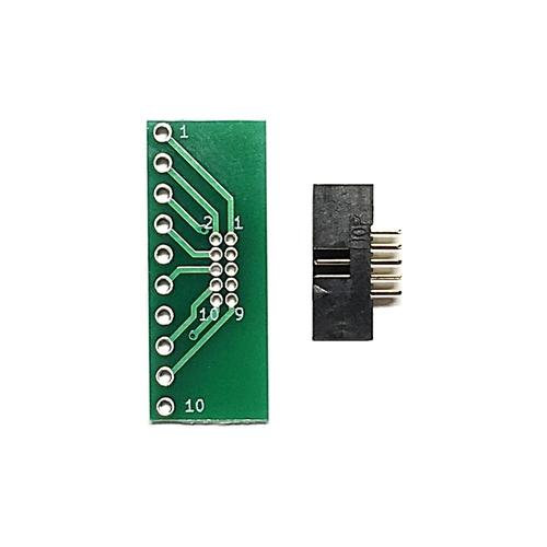 ピッチ変換基板(1.27mm 2×5P⇔2.54mm 1×10P)、ボックスヘッダ付