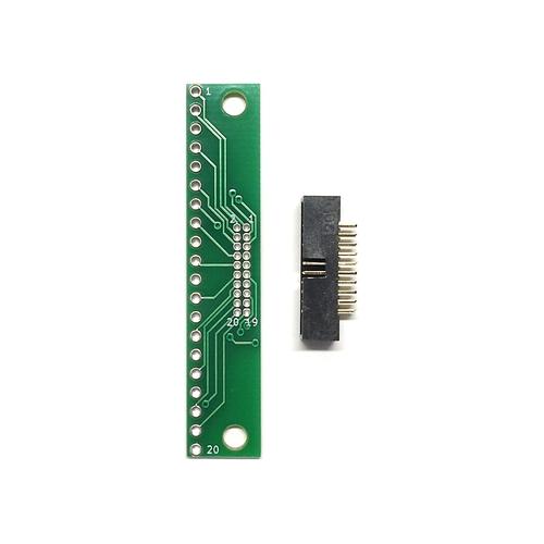 ピッチ変換基板(1.27mm 2×10P⇔2.54mm 1×20P)、ボックスヘッダ付