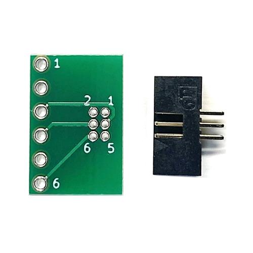 ピッチ変換基板(1.27mm 2×3P⇔2.54mm 1×6P)、ボックスヘッダ付