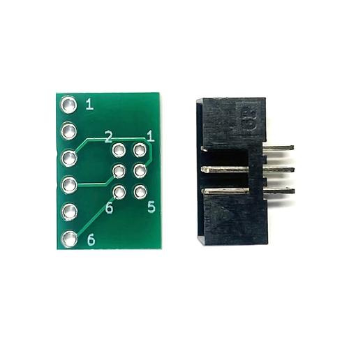 ピッチ変換基板(2.0mm 2×3P⇔2.54mm 1×6P)、ボックスヘッダ付