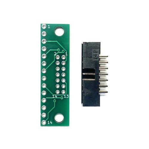 ピッチ変換基板(2.0mm 2×7P⇔2.54mm 1×14P)、ボックスヘッダ付
