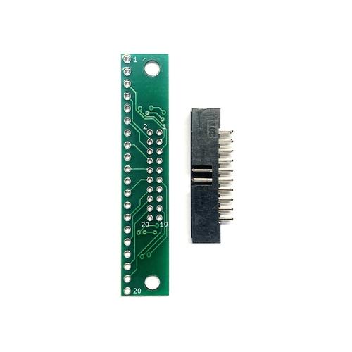 ピッチ変換基板(2.0mm 2×10P⇔2.54mm 1×20P)、ボックスヘッダ付