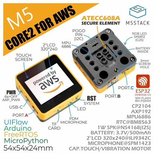 M5Stack Core2 for AWS - ESP32 IoT開発キット