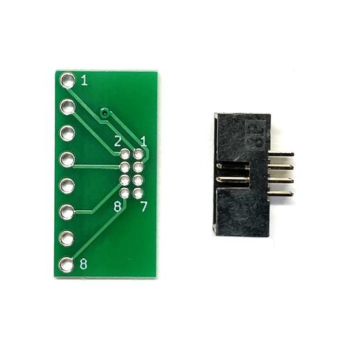 ピッチ変換基板(1.27mm 2×4P⇔2.54mm 1×8P)、ボックスヘッダ付