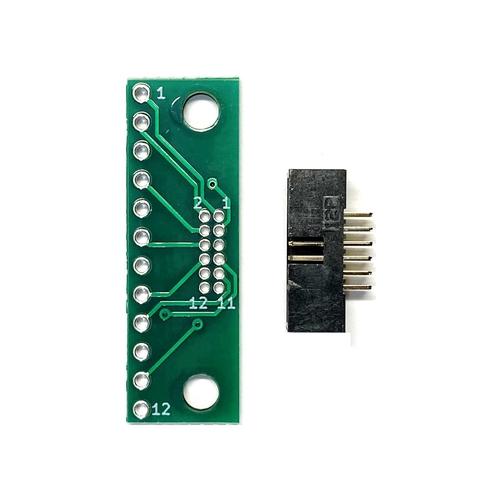 ピッチ変換基板(1.27mm 2×6P⇔2.54mm 1×12P)、ボックスヘッダ付