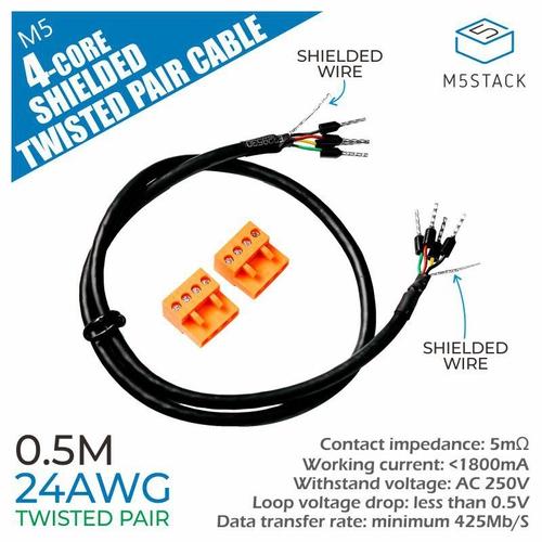 24AWG 4芯シールドツイストペアケーブル  50cm