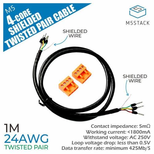 24AWG 4芯シールドツイストペアケーブル  100cm