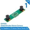 Arducam OV9281搭載 Raspberry Pi/Jetson Nano/NX用 モノクロデュアルカメラアレイボード(1MP x 2)