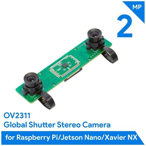 Arducam OV2311搭載 Raspberry Pi/Jetson Nano/NX用 モノクロデュアルカメラアレイボード(2MP x 2)