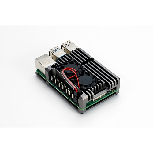 Raspberry Pi 4用 デュアルファン アルミケース (グレー)