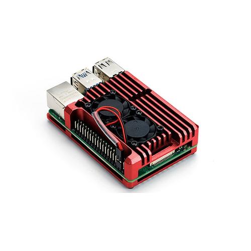 Raspberry Pi 4用 デュアルファン アルミケース (レッド)