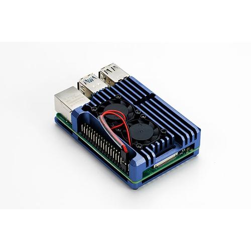 Raspberry Pi 4用 デュアルファン アルミケース (ブルー)