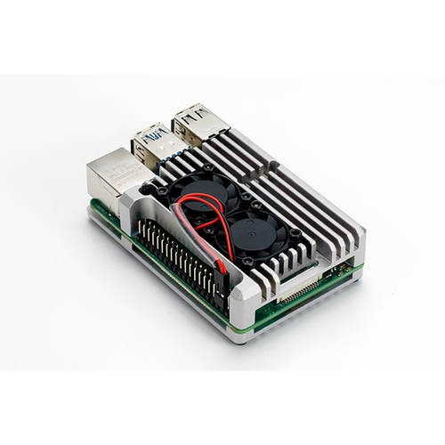 Raspberry Pi 4用 デュアルファン アルミケース (シルバー)