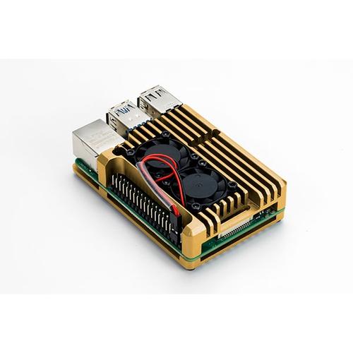 Raspberry Pi 4用 デュアルファン アルミケース (ゴールド)