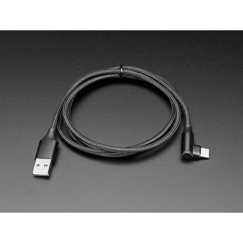USB Type-A - L字 USB Type-C  ナイロンUSBケーブル 1m 黒